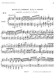 Sinfonie Nr.39 in Es-Dur, K.543: Menuett, für Klavier by Wolfgang Amadeus Mozart