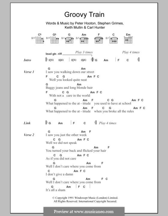 Groovy Train (The Farm): Text und Akkorde by Carl Hunter, Keith Mullin, Peter Hooton, Stephen Grimes
