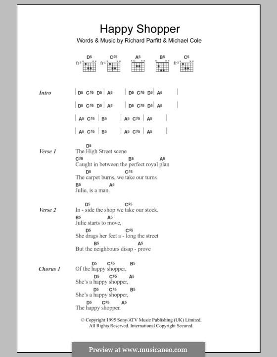 Happy Shopper (60ft Dolls): Text und Akkorde by Michael Cole, Richard Parfitt