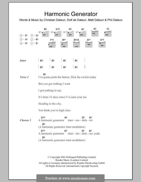 Harmonic Generator (The Datsuns): Text und Akkorde by Christian Datsun, Dolf De Datsun, Matt Datsun, Phil Datsun