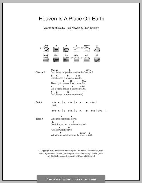 Heaven is a Place on Earthv: Texte und Akkorde by Ellen Shipley, Rick Nowels