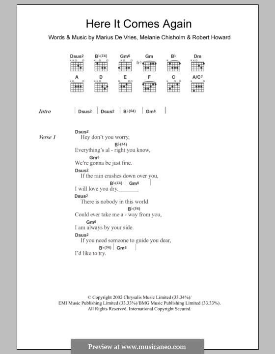 Here It Comes Again (Melanie C): Text und Akkorde by Marius De Vries, Robert Howard