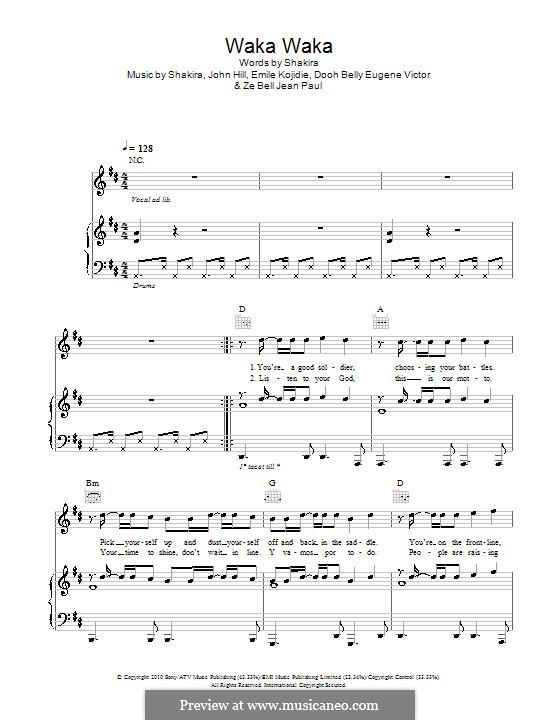 Waka Waka (This Time for Africa): Für Stimme und Klavier (oder Gitarre) by John Leubrie Hill, Shakira, Dooh Belly Eugene Victor, Emile Kojidie, Ze Bell Jean Paul