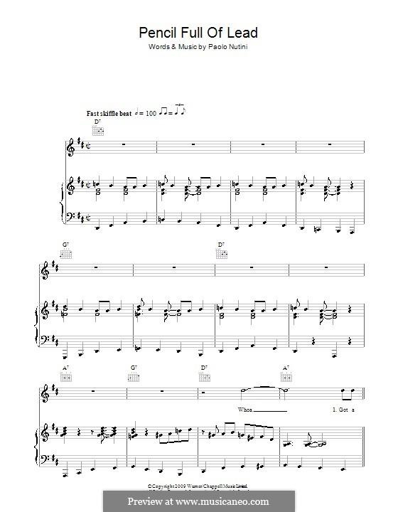 Pencil Full of Lead: Für Stimme und Klavier (oder Gitarre) by Paolo Nutini