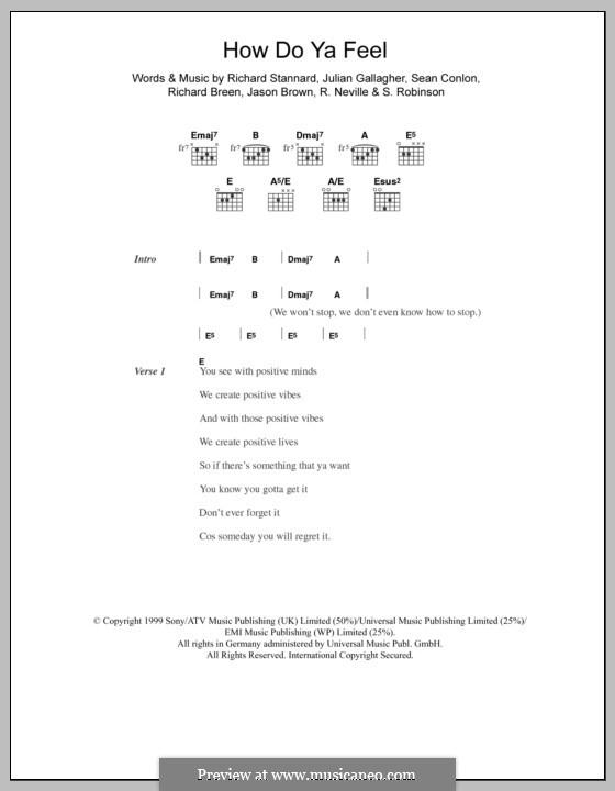 How Do Ya Feel (Five): Text und Akkorde by Jason Brown, Julian Gallagher, Richard Neville, Richard Breen, Richard Stannard, S. Robinson, Sean Conlon