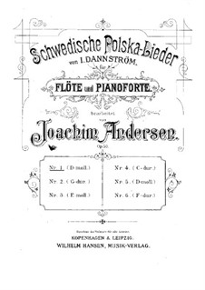 Schwedische Polska-Lieder für Flöte und Klavier, Op.50: Nr.1 in d-Moll by Johan Isidor Dannström
