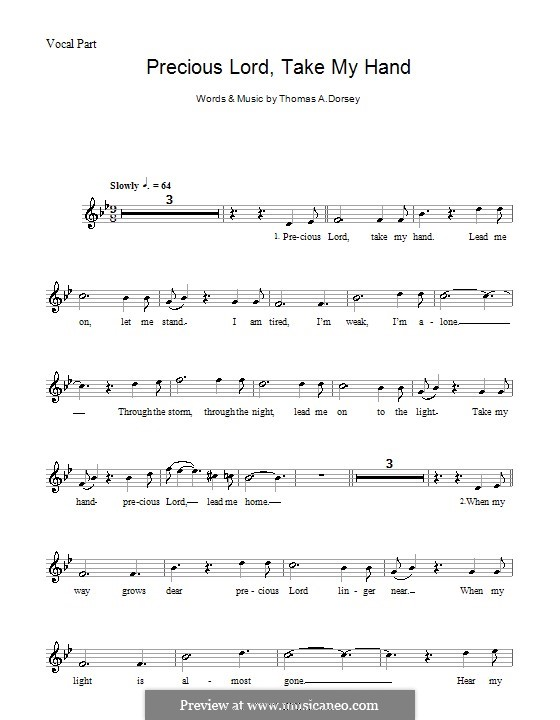 Precious Lord, Take My Hand (Take My Hand, Precious Lord): Melodie, Text und Akkorde (Aretha Franklin) by Thomas A. Dorsey