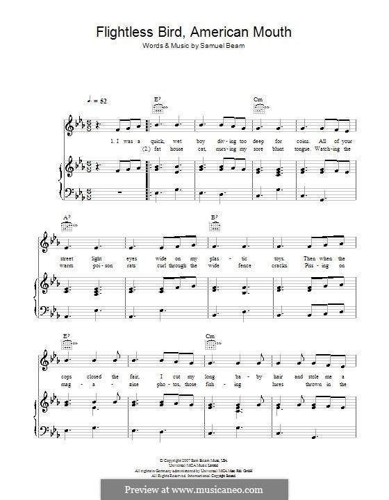 Flightless Bird, American Mouth (Iron & Wine): Für Stimme und Klavier (oder Gitarre) by Samuel Beam