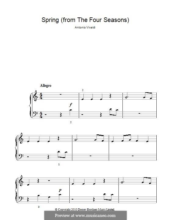 Violin Concerto No.1 in E Major 'La primavera' (Printable Scores): Teil I (Theme). Version for easy piano by Antonio Vivaldi