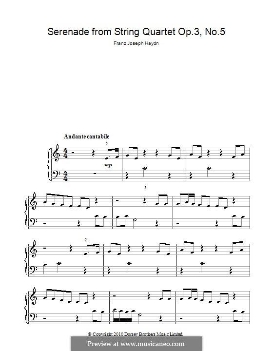 Streichquartett in F-Dur, Hob.III/17 Op.3 No.5: Teil II. Klavierversion für Anfänger by Joseph Haydn