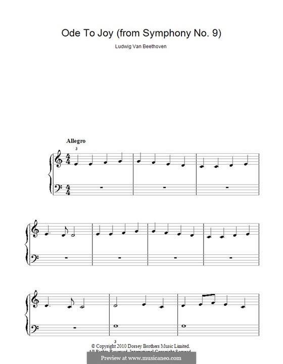 Ode an die Freude, für Klavier: Klavierversion für Anfänger (C-Dur) by Ludwig van Beethoven