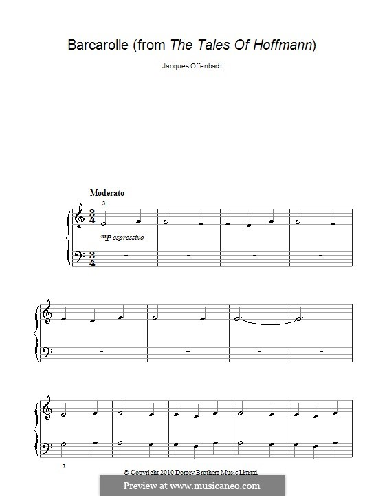 Barcarolle (Printable Scores): Version for piano (very easy version) by Jacques Offenbach