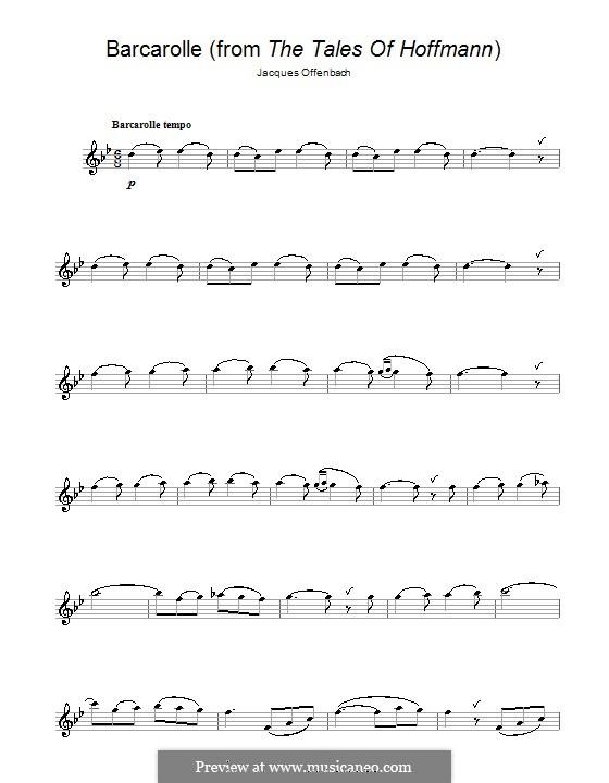 Barcarolle (Printable Scores): Version für Saxophon by Jacques Offenbach