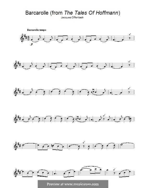 Barcarolle (Printable Scores): Version für Klarinette by Jacques Offenbach