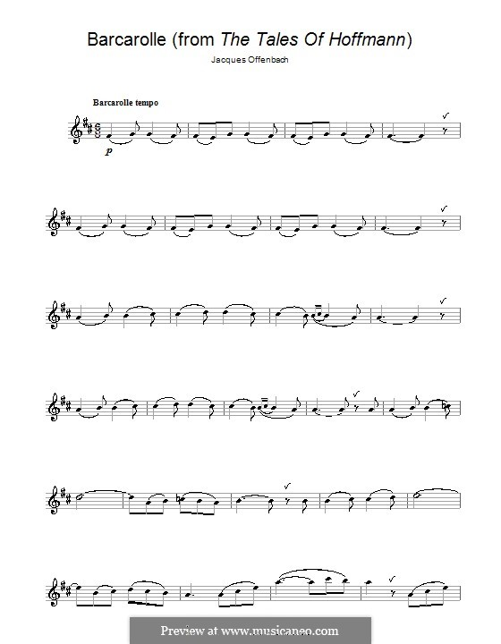 Barcarolle (Printable Scores): Version für Flöte by Jacques Offenbach