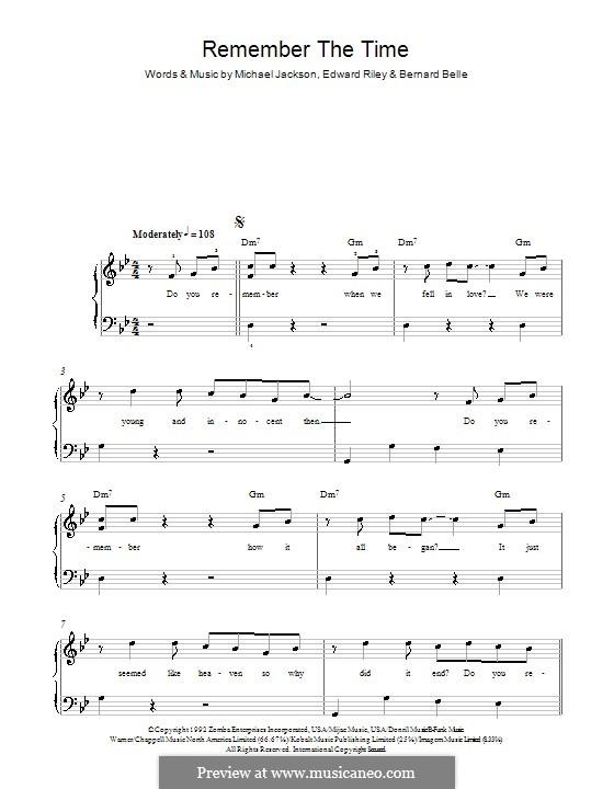Remember the Time: Für Klavier, leicht by Bernard Belle, Teddy Riley, Michael Jackson