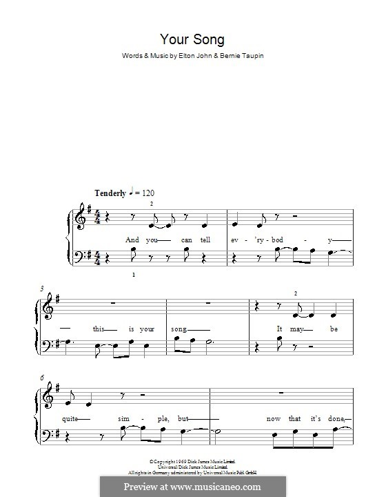 Your Song: Für Klavier, leichte Fassung (G-Dur) by Elton John
