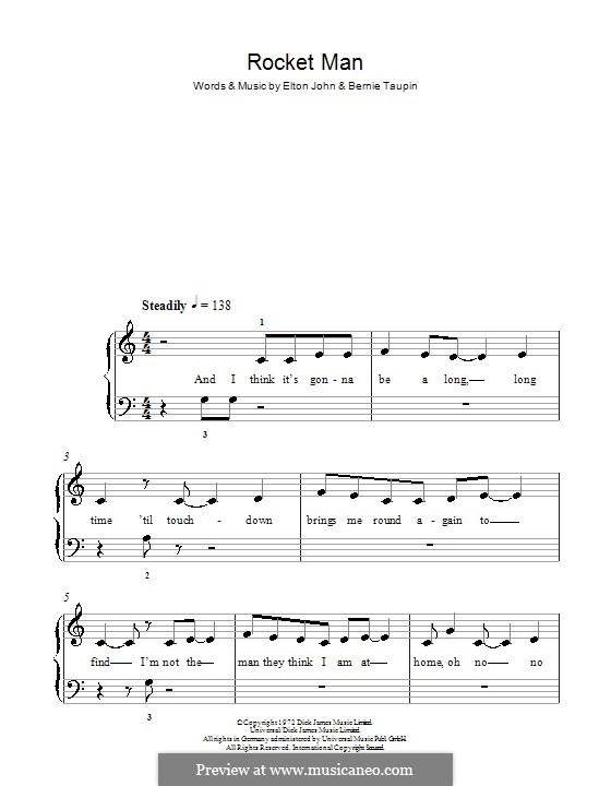Rocket Man (I Think It's Gonna Be a Long Long Time): Für Klavier, leicht by Elton John