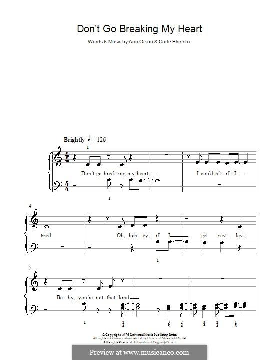 Don't Go Breaking My Heart (Elton John): Für Klavier, leicht by Ann Orson, Carte Blanche