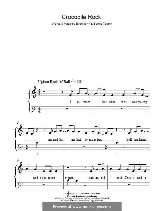 Crocodile Rock: Für Klavier, leicht by Elton John
