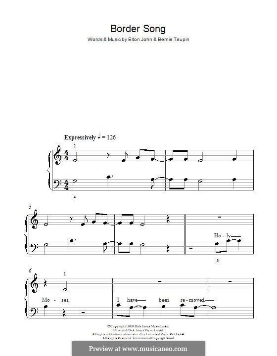 Border Song: Für Klavier, leicht by Elton John