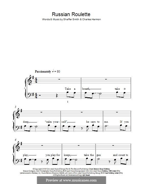Russian Roulette (Rihanna): Für Klavier, leicht by Charles Harmon, Ne-Yo