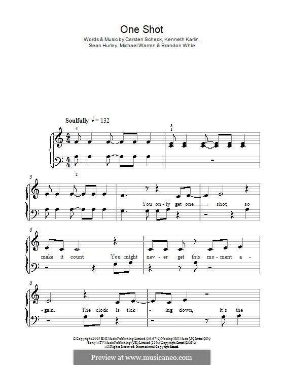One Shot (JLS): Für Klavier, leicht by Brandon White, Carsten Schack, Kenneth Karlin, Michael Warren, Sean Hurley