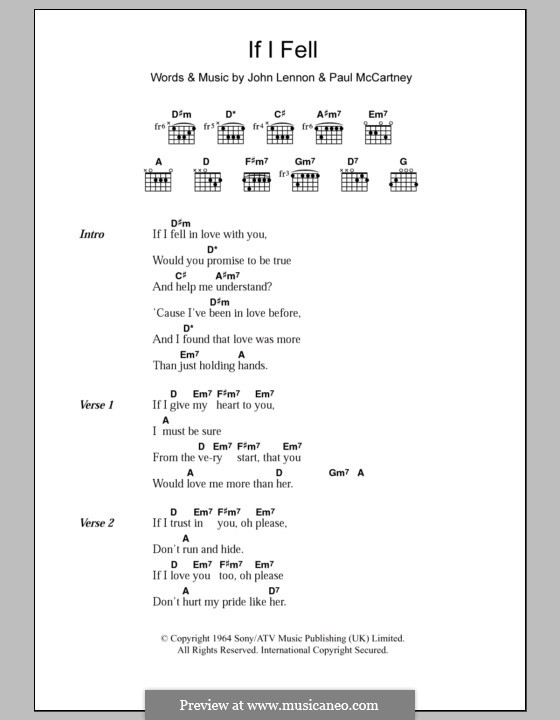 If I Fell (The Beatles): Text und Akkorde by John Lennon, Paul McCartney