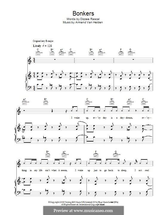 Bonkers (Dizzee Rascal feat. Calvin Harris & Chrome): Für Stimme und Klavier (oder Gitarre) by Armand Van Helden