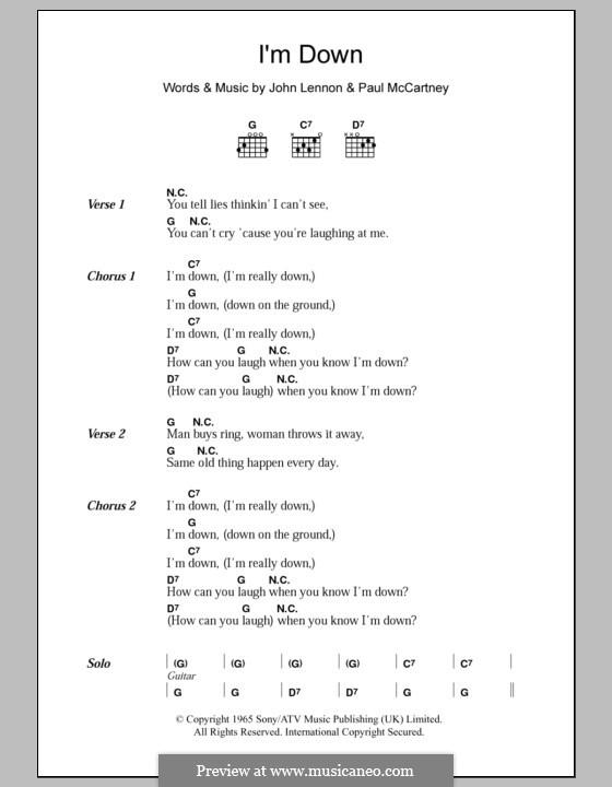 I'm Down (The Beatles): Text und Akkorde by John Lennon, Paul McCartney