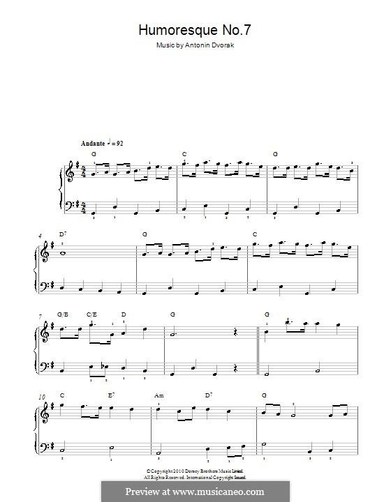 Humoresken, B.187 Op.101: No.7 in G Major, for easy piano by Antonín Dvořák