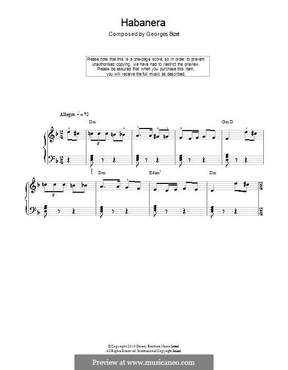 Habanera: Klavierversion für Anfänger (mit Akkorde) by Georges Bizet