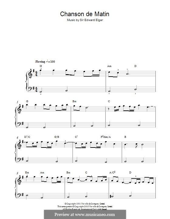 Zwei Stücke, Op.15: No.2 Chanson de matin. Version for easy piano by Edward Elgar