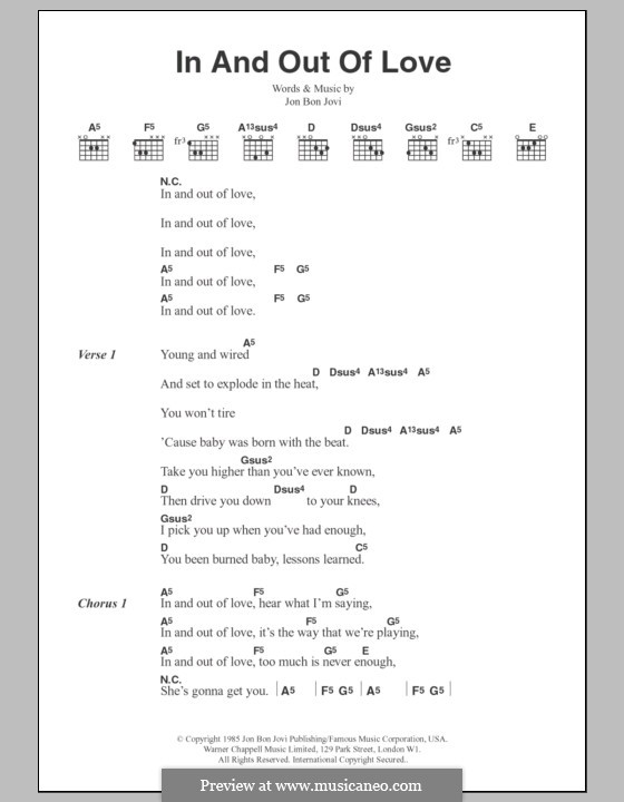 In and out of Love (Bon Jovi): Text und Akkorde by Jon Bon Jovi