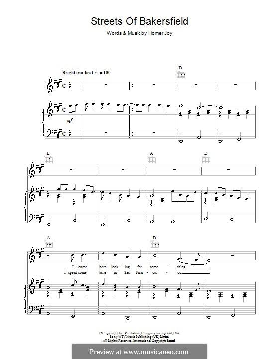Streets of Bakersfield (Dwight Yoakam): Für Stimme und Klavier (oder Gitarre) by Homer Joy