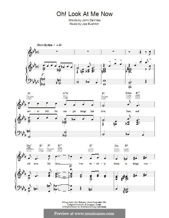 Oh Look at Me Now (Frank Sinatra): Für Stimme und Klavier (oder Gitarre) by Joe Bushkin