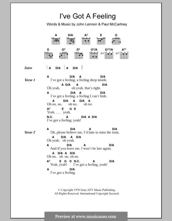 I've Got a Feeling (The Beatles): Text und Akkorde by John Lennon, Paul McCartney