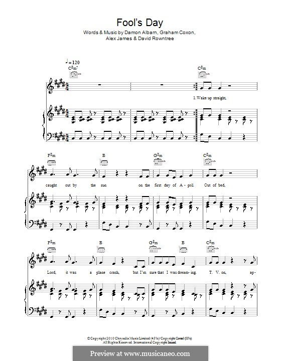 Fool's Day (Blur): Für Stimme und Klavier (oder Gitarre) by Alex James, Damon Albarn, David Rowntree, Graham Coxon