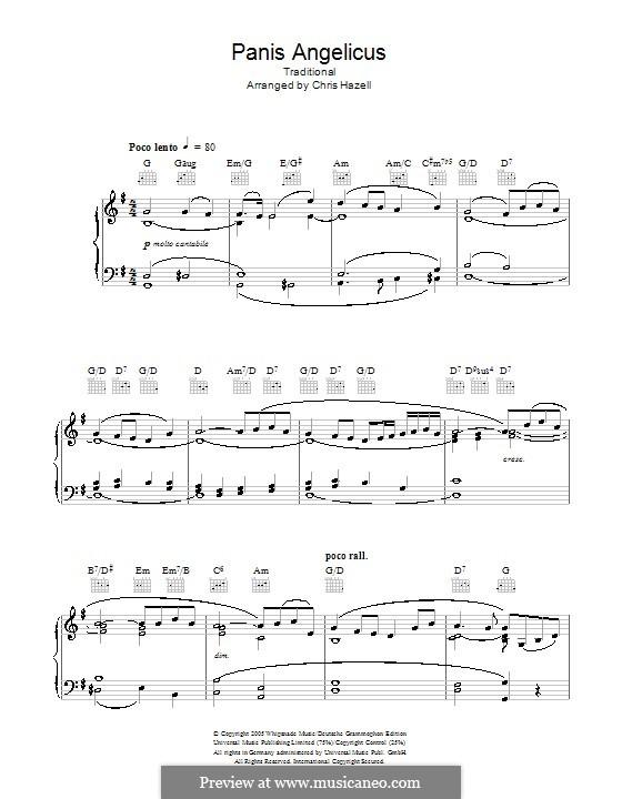 Panis Angelicus (O Lord Most Holy), Printable Scores: Für Stimme und Klavier oder Gitarre (G-Dur) by César Franck