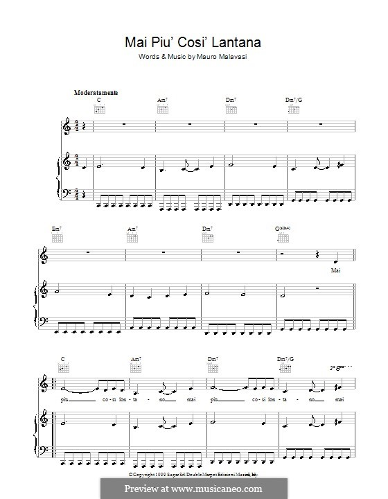 Mai Piu' Cosi' Lontano: Für Stimme und Klavier (oder Gitarre) by Mauro Malavasi