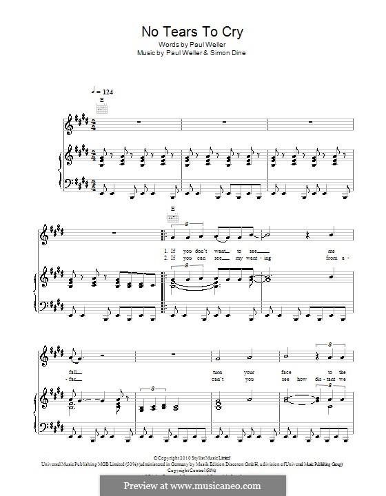 No Tears to Cry: Für Stimme und Klavier (oder Gitarre) by Paul Weller, Simon Dine