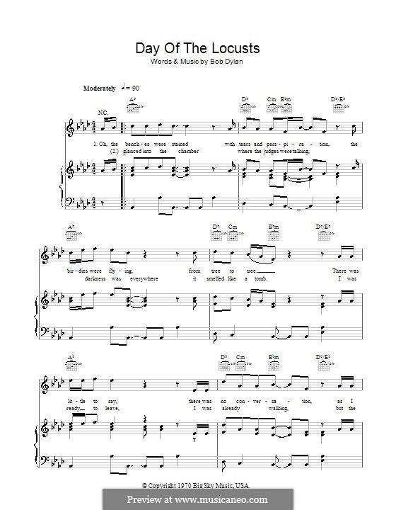 Day of the Locusts: Für Stimme und Klavier (oder Gitarre) by Bob Dylan