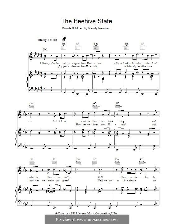 The Beehive State: Für Stimme und Klavier (oder Gitarre) by Randy Newman