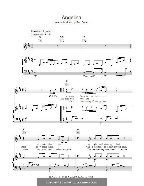 Angelina: Für Stimme und Klavier (oder Gitarre) by Bob Dylan