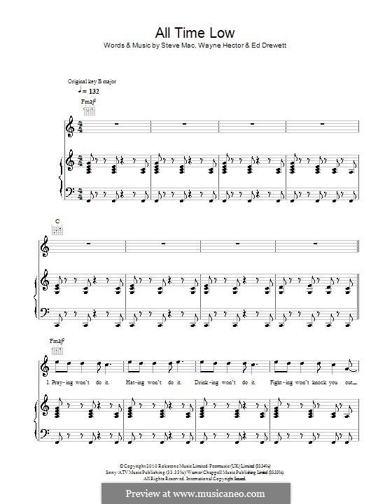 All Time Low (The Wanted): Für Stimme und Klavier (oder Gitarre) by Ed Drewett, Steve Mac, Wayne Anthony Hector