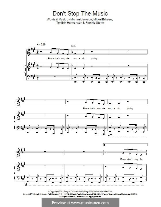 Don't Stop the Music: Für Stimme mit Klavier oder Gitarre (Rihanna) by Frankie Storm, Michael Jackson, Mikkel Storleer Eriksen, Tor Erik Hermansen