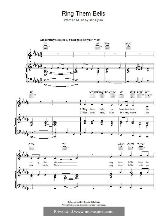 Ring Them Bells: Für Stimme und Klavier (oder Gitarre) by Bob Dylan