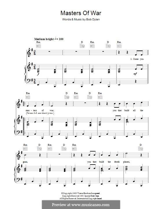 Masters of War: Für Stimme und Klavier (oder Gitarre) by Bob Dylan