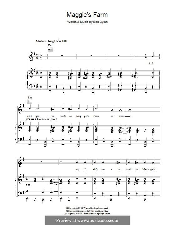 Maggie's Farm: Für Stimme und Klavier (oder Gitarre) by Bob Dylan