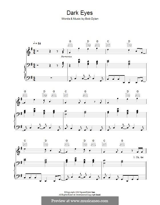 Dark Eyes: Für Stimme und Klavier (oder Gitarre) by Bob Dylan